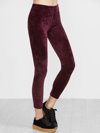 Burgundy Velvet Ankle Leggings