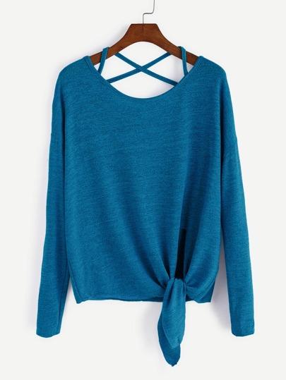 Camiseta con hombro caído cruzada con cordón en la parte delantera - azul