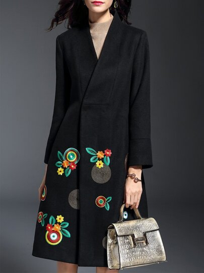 Black V Neck Flowers Embroidered Coat