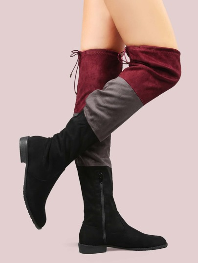 Triple Color Suede Flat Boots BLACK