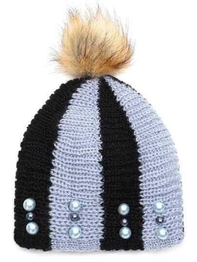 Chapeau perlé à rayure avec pompom -noir et blanc