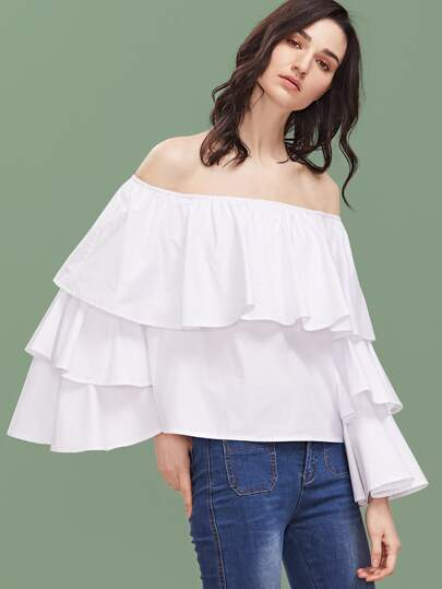 Белый модный топ с открытыми плечами с оборкой рукав клёш