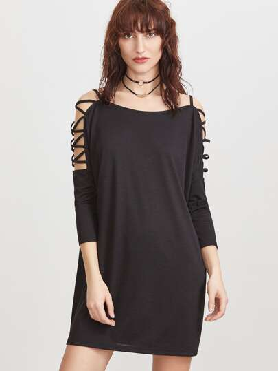 Crisscross Cutout Shoulder Dress