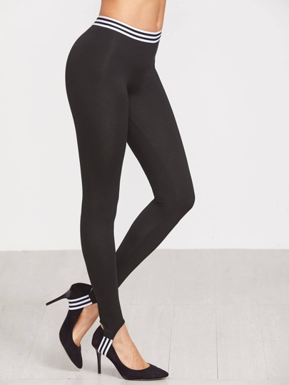 Black Striped Trim Stirrup Leggings