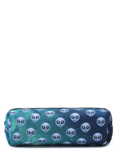 Turquoise Oxford Alien Print Makeup Case