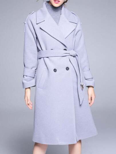 Grey Lapel Tie-Waist Pockets Coat