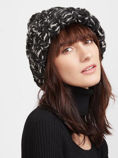 Bonnet tricot chunky -blanc et noir