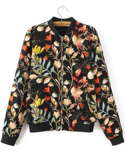 Black Floral Print Ribbed Trim Jacket