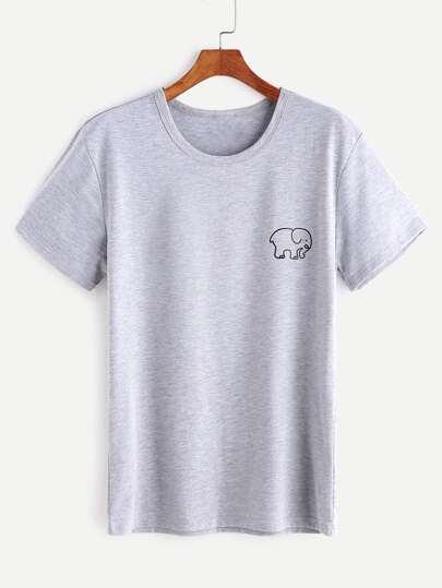 Camiseta con estampado de elefante - gris