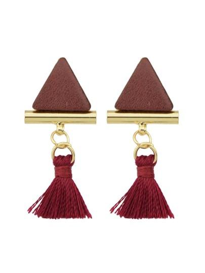 Boucle d'oreille en forme de triangle couleur rouge vineux avec frange