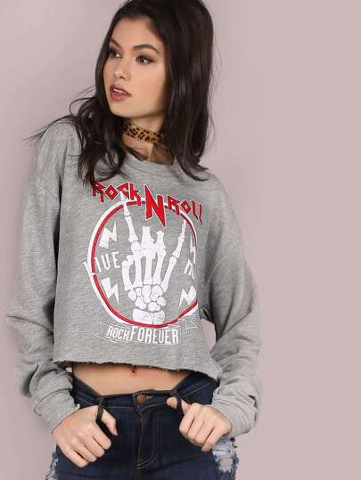 Shredded Rock n Roll Cropped Pullover HEATHER GREY