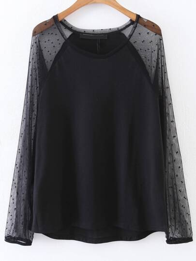 Black Polka Dot Mesh Raglan Sleeve Top