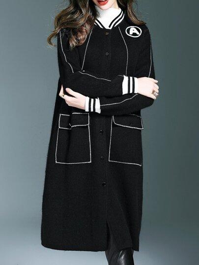 Schwarze Nackentaschen Langer Mantel