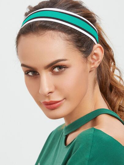 Green Striped Sporty Elastic Headband