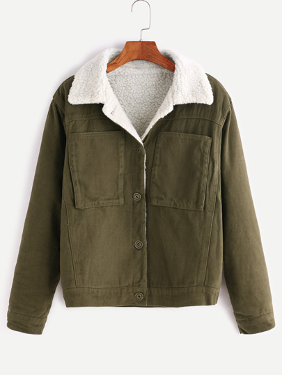 Army Green Single Breasted Sherpa Lined Jacket