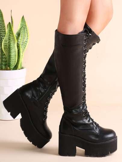 Bottes de genou en faux cuir à lacet à fond plat zippé -noir