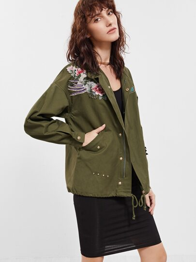 Olive Green Drop Shoulder Embroidered Drawstring Jacket