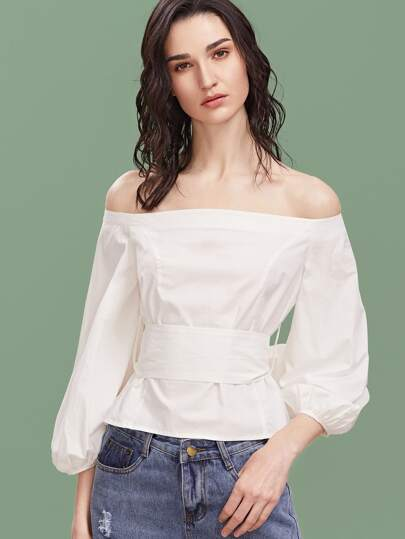 White Off The Shoulder Lantern Sleeve Belted Top
