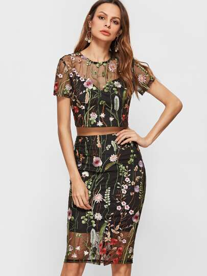 Black Botanical Embroidered Mesh Overlay Crop Top With Pencil Skirt