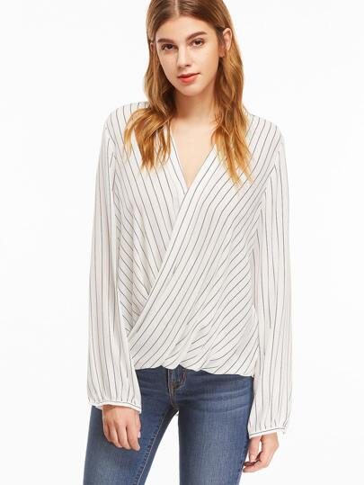 White Pinstripes V Neck Twisted Front High Low Blouse