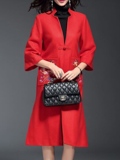 Red V Neck Embroidered Pockets Coat