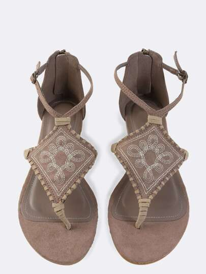 Tribal Inspired Thong Sandals TAUPE