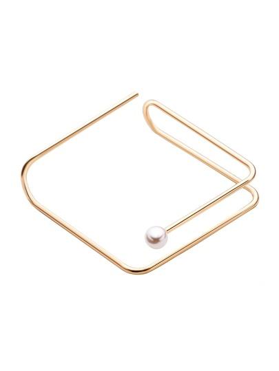 Brazalete cuadrado con diseño abierto y perla - dorado