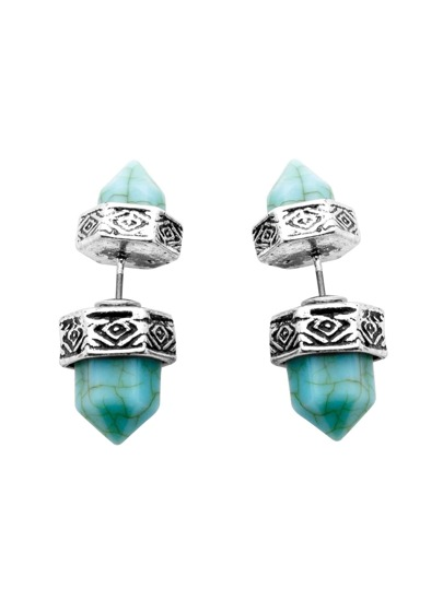 Silver Plated Tribal Style Hexagonal Turquoise Earrings