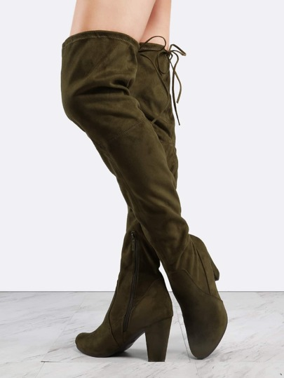 Tie Back Chunky Heel Suede Boots OLIVE