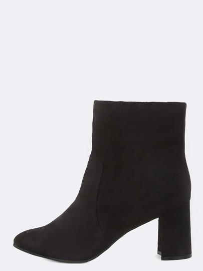 High Shaft Suede Booties BLACK
