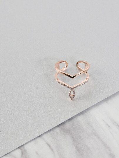 Duo Chevron Loop Ring ROSE GOLD