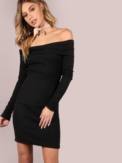 Fold Over Open Shoulder Sleeved Mini Dress BLACK