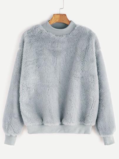 Contrast Ribbed Trim Drop Shoulder Fluffy Sweatshirt