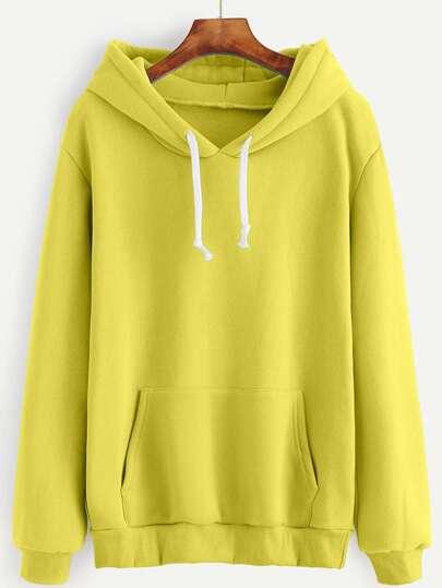 Yellow Drawstring Hooded Pocket Sweatshirt