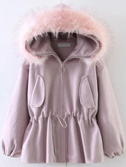 Pink Drawstring Waist Faux Fur Hooded Coat