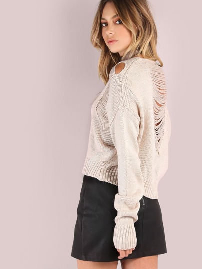 Cropped Frayed Knit Sweater TAUPE