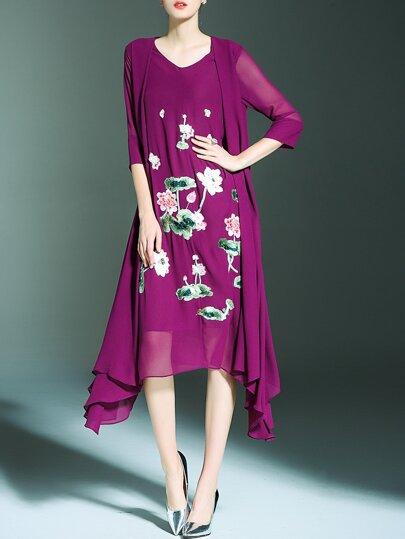 Robe de sequin appliqué en floral - violet