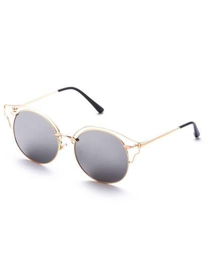 Gold Frame Silver Lens Cat Eye Sunglasses