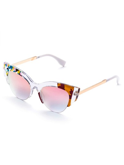 Cut Away Frame Cat Eye Sunglasses with Pink Lens