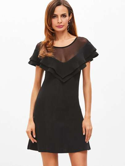 Black Mesh Shoulder Layered Chevron Ruffle Dress