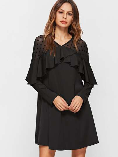 Black Polka Dot Mesh Neck Ruffle Trim  A Line Dress