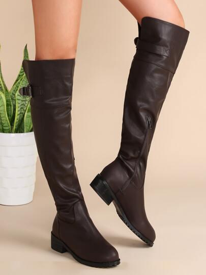 Bottes de genou à bouts en amande avec zip sur côté bouclé -café