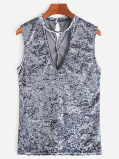 Grey Cut Out Keyhole Back Velvet Sleeveless Top