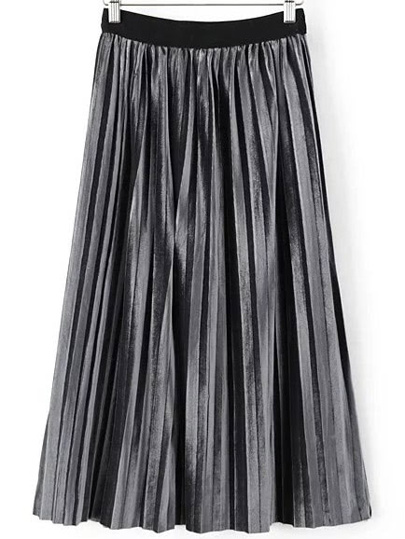 Grey Pleated Velvet Midi Skirt
