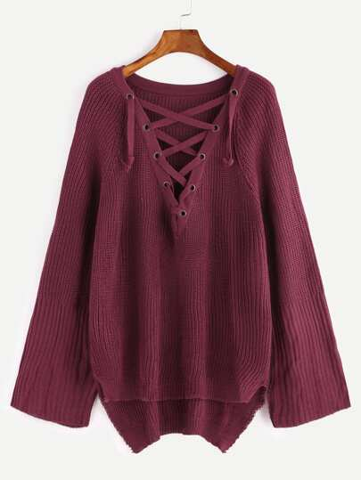 Burgundy Raglan Sleeve Eyelet Lace Up High Low Sweater