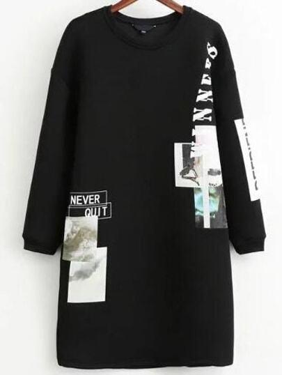 Black Printed Drop Shoulder Sweatshirt Dress