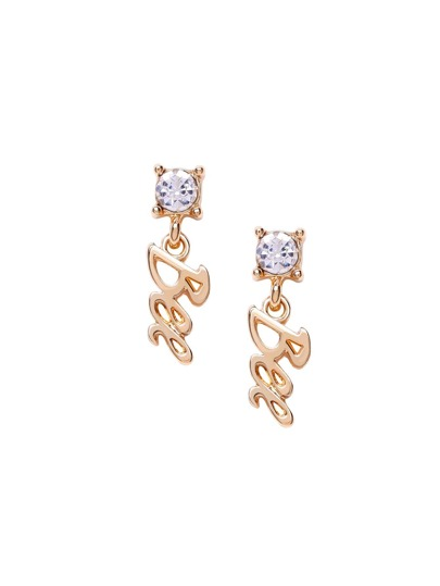 Gold Plated Letter Drop Gem Inlaid Earrings