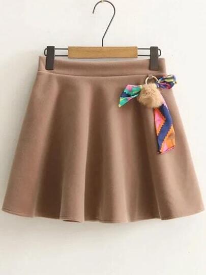 Falda línea A con cintura elástica y pompón - kaki