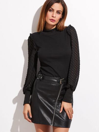 Black Dotted Mesh Bishop Sleeve T-shirt