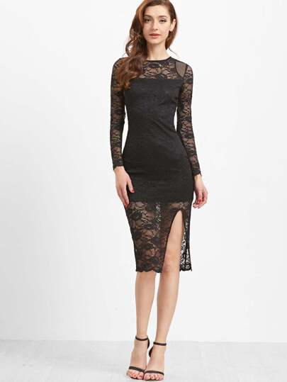 Black Sheer Sleeve Slit Front Floral Lace Dress